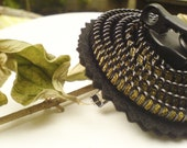 2 Monotone zipper brooch, black zipper jewelry design, statement gift, Zen style.