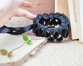 2 Black cuff bracelet, ruff zipper jewelry, black big size plastic zipper with ribbon.