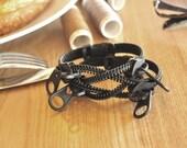 Zipper Jewelry, men's bracelets, black metal wristband.