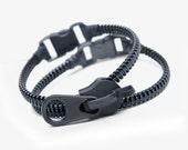 2 Zipper bracelets, zipper jewelry design, black wristband by SakuraZIPPERjewelry.