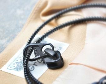 2 YKK zipper necklace, zipper accessories, fashion jewelry, bracelet.
