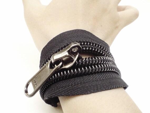 2 Cuff bracelets men's wristband, men's cuff, modern ykk zipper jewelry design.