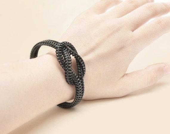 Cyber monday Infinity style zipper bracelet, black, zipper jewelry gifts, Customized WRIST Size.