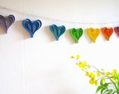 Rainbow Wedding Garland, Paper hearts Wedding Banner, rainbow birthday party, Engagement Party Decoration, Photo Booth Prop (handmade)
