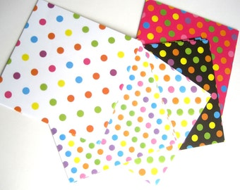 Japanese Origami paper sheets, 100 Polka dots paper, colorful dots on white, black, pink, paper craft supplies, scrapbook paper