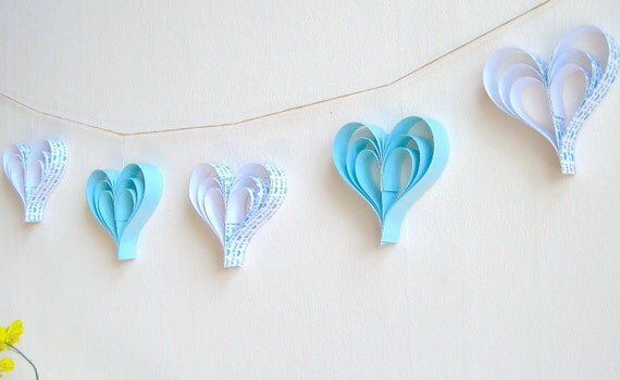 Baby Shower Blue Paper Hearts Garland Its A Boy