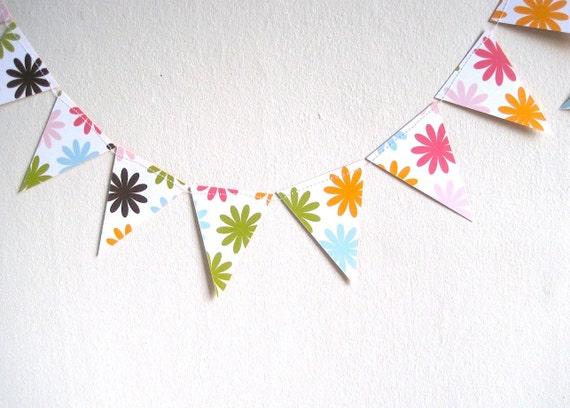 Birthday Bunting Paper Garland, Spring Party Decoration, Nursery Decor, Photo Prop, Handmade  (7 feet, 2.13 m)