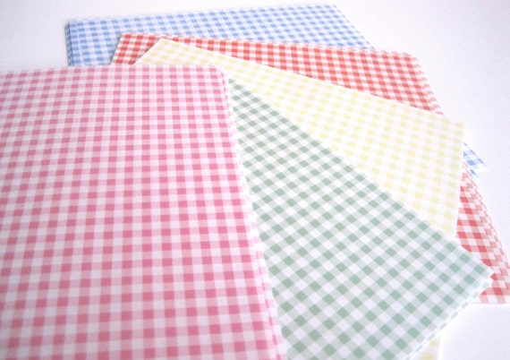 Origami paper pack - 100 sheets Gingham plaid checks paper, Chiyogami, red blue green yellow pink for paper craft projects, cards