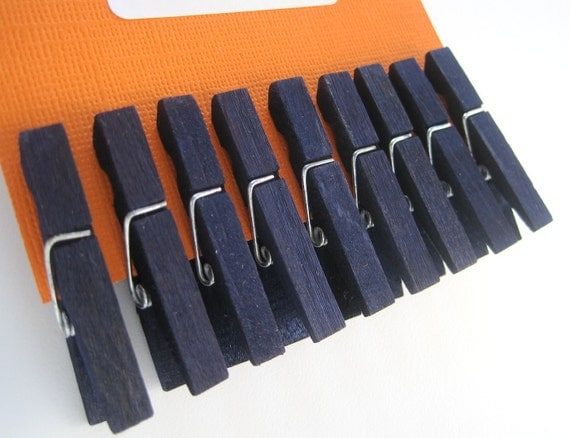 Wood Clothes Pins, 9 navy blue hand dyed clothespins, craft projects, gift decoration