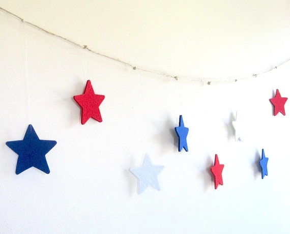 Red white blue stars garland, 4th of july decoration, fourth of july banner, party decoration, patriotic garland, nautical theme, photo prop