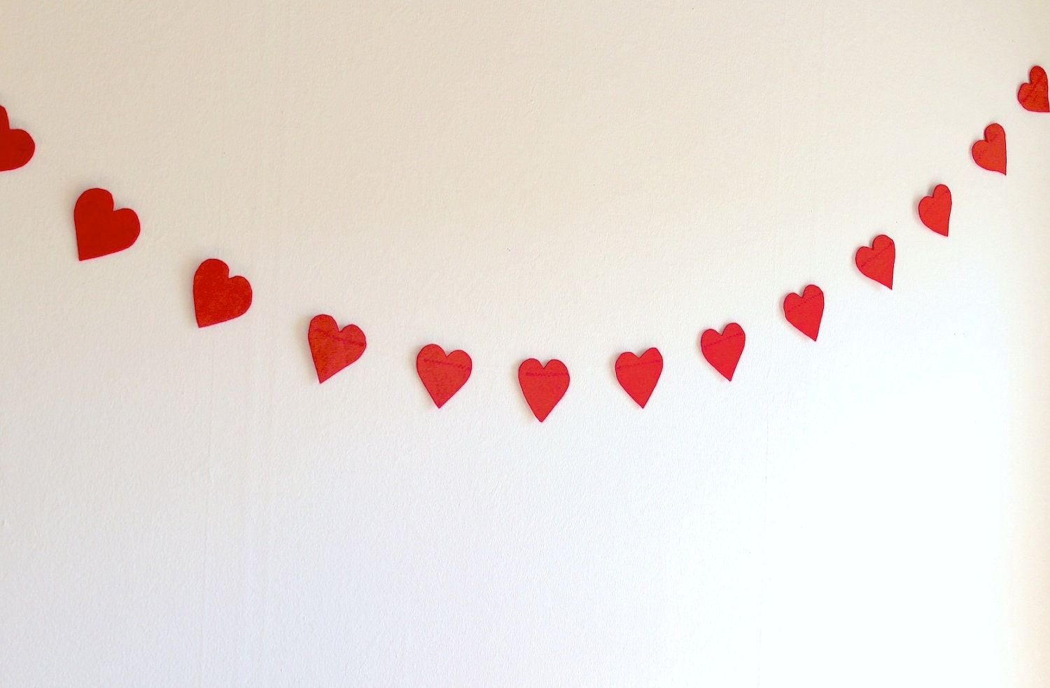 Red hearts felt garland 5 5ft party decoration by paperdotco