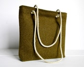 SALE WWII Wool Recycled Purse Small Tote Bag