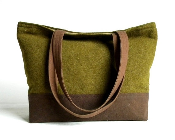 WWII Wool and Waxed Canvas Tote Bag