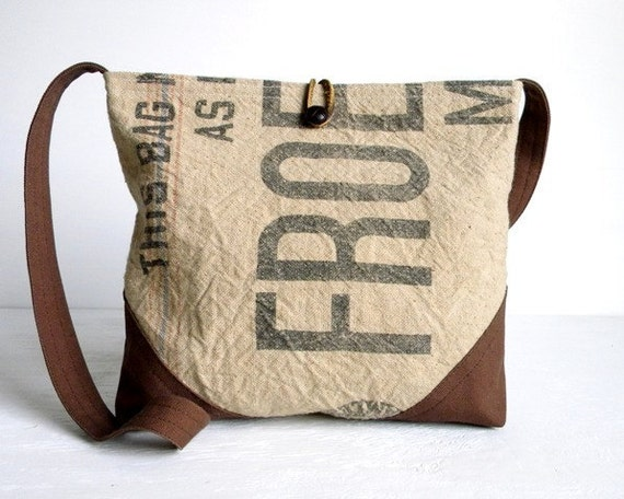 Recycled Grain Sack Cross Body Day Bag