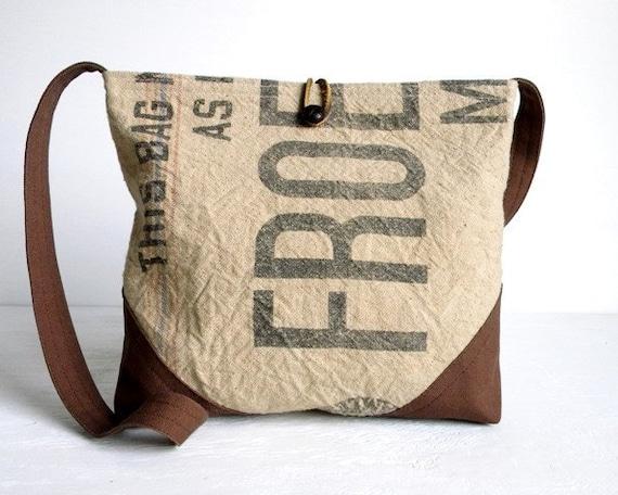 Recycled Grain Sack Cross Body Day Bag