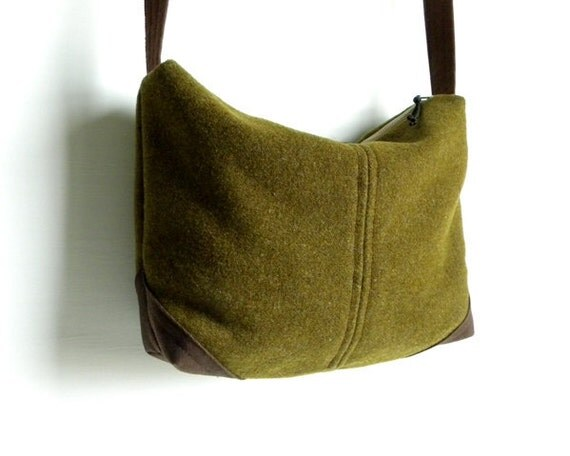 WWII Wool and Waxed Canvas Bag Purse