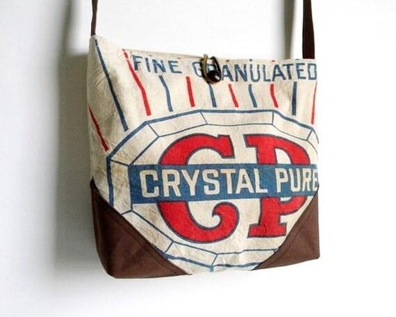SALE Recycled Sugar Sack Cross Body Day Bag