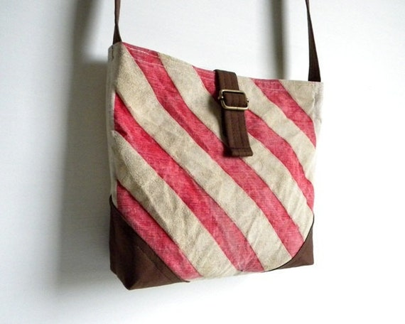 Recycled Striped Cross Body Day Bag