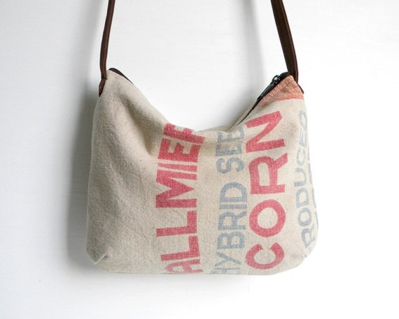 Recycled Seed Sack Slouch Cross Body Bag