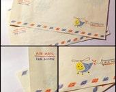 Vintage Cute Cartoon Style Airmail Envelopes x 2