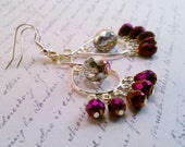 Dangle Chandelier Earrings -- Purple & Aurora Borealis Beads