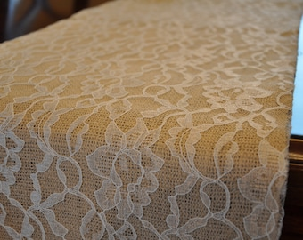 Burlap and Lace Table Runner (7')  - Handmade Table Runners - Rustic Wedding Table Runners