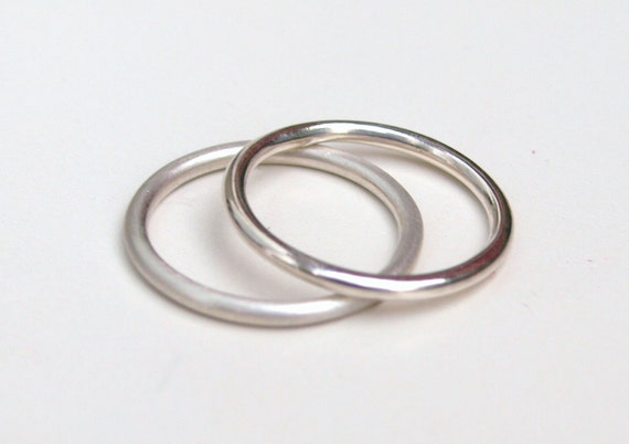 Two silver plain stacking rings, satin finish or high polish