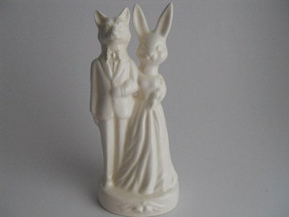 Fox Weds Bunny Wedding Cake Topper
