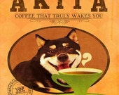 12X12 Modern Vintage Giclee Print - Mixed Media - Akita Dog & A Cup of Coffee - Orange - LHA-013