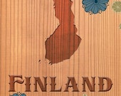 Finland Map Art - Carved Wood With Adorable Flowers - 18 X 24 Handmade Carved Wood Vintage Feel Giclee Print - No. 326-D2