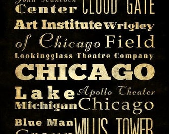 Chicago, Illinois,  Typography Art  Canvas / Bus  / Transit / Subway Roll Art 20X24 - Chicago's Attractions Wall Art Decoration -  LHA-181