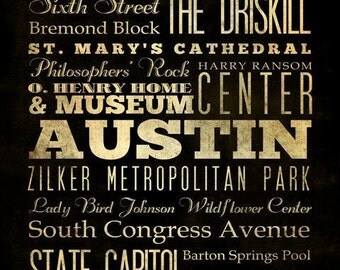 Austin, Texas, Typography Art  Canvas / Bus  / Transit / Subway Roll Art 20X24 - Austin's Attractions Wall Art Decoration -  LHA-166
