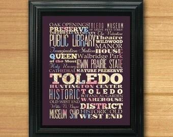 Toledo, Ohio, Typography Art Poster/ Bus / Transit / Subway Roll Art 8X10-Toledo's Attractions Wall Art Decoration-C03-LHA-221