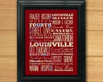 Louisville, Kentucky, Typography Art Poster / Bus / Transit / Subway Roll Art 8X10-Louisville's Attractions Wall Art Decoration-LHA