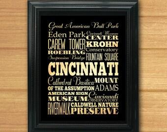 Cincinnati, Ohio, Typography Art Poster / Bus / Transit / Subway Roll Art 8X10-Cincinnati's Attractions Wall Art Decoration-LHA-212