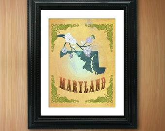 Maryland State Map Art - 8.5X11 Ornate Birds Love Map Giclee Print - Tree Flowers & Bird - Passion Fruit LHA-094-06