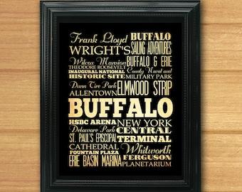 Buffalo, New York, Typography Art Poster / Bus / Transit / Subway Roll Art 8X10-Buffalo's Attractions Wall Art Decoration-LHA-211