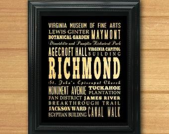 Richmond, Virginia, Typography Art Poster/Bus/Transit/Subway Roll Art 8X10-Richmond's Attractions Wall Art Decoration-LHA-280