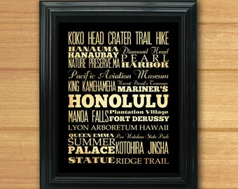 Honolulu, Hawaii, Typography Art Poster / Bus / Transit / Subway Roll Art 8X10-Honolulu's Attractions Wall Art Decoration-LHA-222