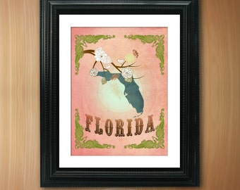 Florida State Map Art - 8.5X11 Ornate Birds Love Map Giclee Print - Tree Flowers & Bird - Fragrant Peach LHA-094-05