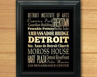 Detroit, Michigan, Typography Art Poster / Bus / Transit / Subway Roll Art 8X10-Detroit's Attractions Wall Art Decoration-LHA-183