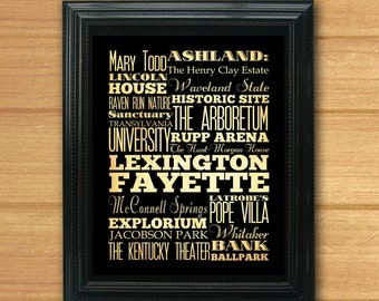 Lexington Fayette, Kentucky, Typography Art Poster/Bus/Transit/SubwayRollArt8X10-Lexington Fayette's Attractions Wall Art Decoration-LHA-21