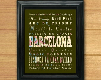Barcelona, Spain, Typography Art Poster / Bus / Transit / Subway Roll Art 8X10-Barcelona's Attractions Wall Art Decoration-C02-LHA-231