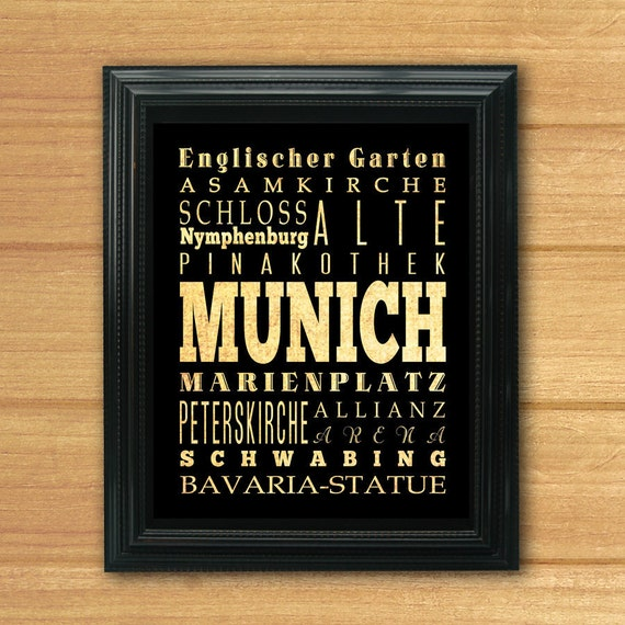 Munich, Germany, Typography Art Poster/Bus/Transit/Subway Roll Art 8X10-Munich's Attractions Wall Art Decoration-LHA-273