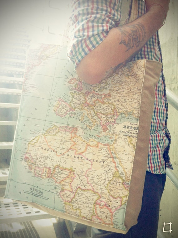 Summer Travel Blue World Map Printed Bag