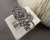 Vintage Ring Marcasite Rose Clark Coombs