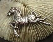 Vintage Zebra Brooch Sterling Silver Pin Large