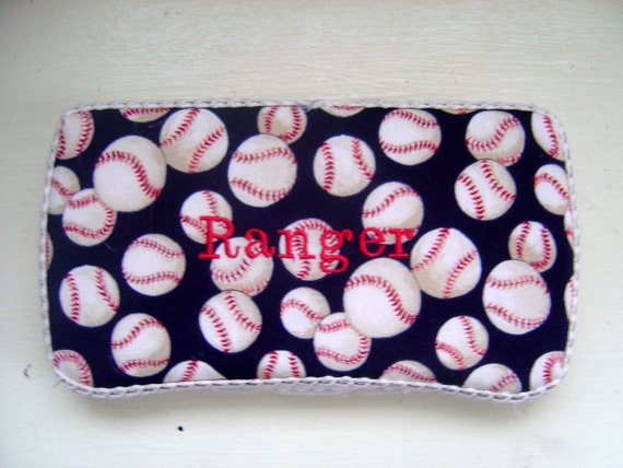 Baby Boy Personalized Boutique Wipes Case with Baseball Fabric