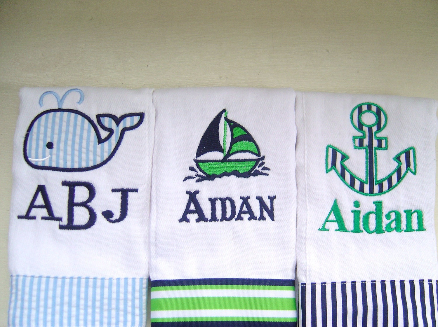 Baby Boy Monogrammed Burp Cloth Set With An Anchor Sailboat