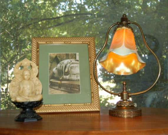 Golden Hand Blown Glass Lamp - Possible Loetz